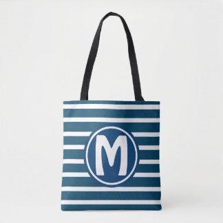 Blue HS1 Striped Monogram Tote Bag