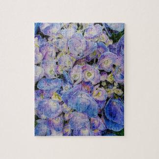 Blue Hydrangea Botanical Art Jigsaw Puzzle