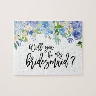 Blue Hydrangea Floral | Bridesmaid Proposal Puzzle