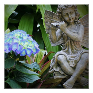 Blue Hydrangea Flowers and Fairy Statue Poster