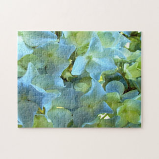 Blue Hydrangea Flowers Floral Flower Photo Jigsaw Puzzle