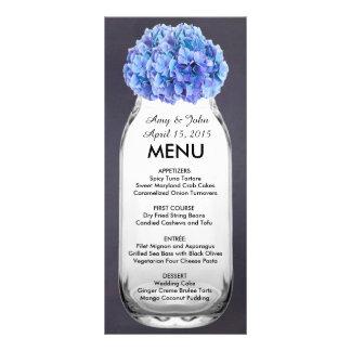 Blue hydrangea mason jar wedding menu hydrangea7 rack cards