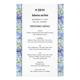 Blue Hydrangea Monogram Wedding Menu Template 14 Cm X 21.5 Cm Flyer