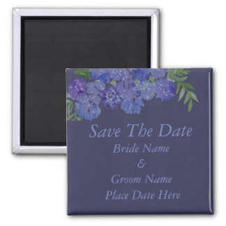 Blue Hydrangea Save The Date Square Magnet