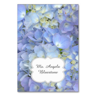 Blue Hydrangea Tented Place Cards Name