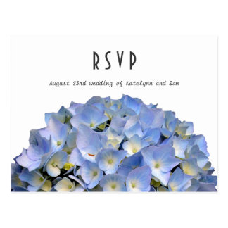 Blue Hydrangea Wedding Menu RSVP Postcard