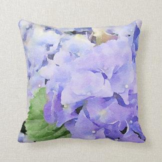 Blue Hydrangeas Watercolor Design Cushion