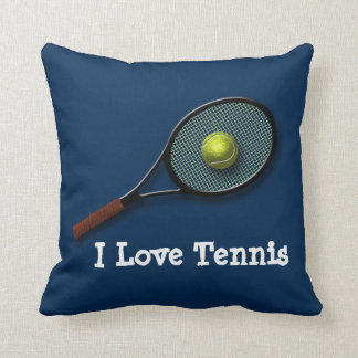 "Blue ""I Love Tennis"" Throw Pillow with Racket"