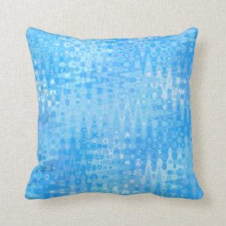 Blue Ice Water Aqua Bubbles Organic Zigzag Pattern Throw Pillow