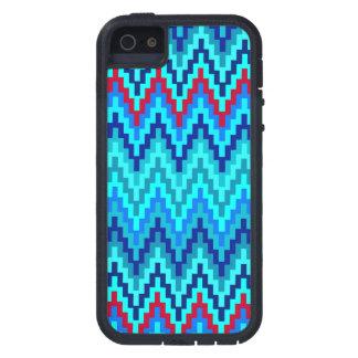 Blue Ikat Chevron Geometric Zig Zag Stripe Pattern Tough Xtreme iPhone 5 Case