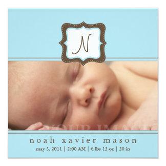 Blue Initial Birth Announcement