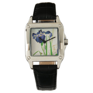 Blue Iris - Japanese watercolor print Watch