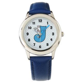 """Blue Jackrabbit Monogrammed """"J"""" Boys Watch"""