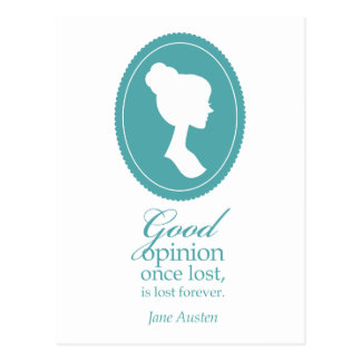 Blue Jane Austen Good Opinion Lost Quote Gift Postcard