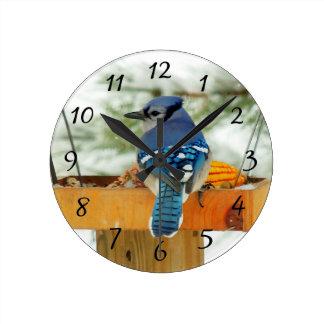 Blue Jay Peace Round Clock