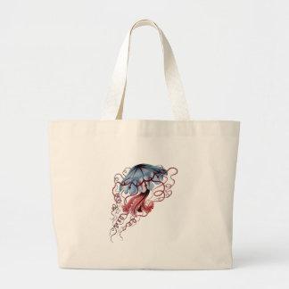Blue jellyfish large tote bag