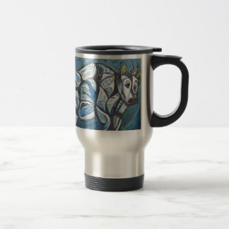 Blue Jeweled Cattle (abstract animal painting) Travel Mug