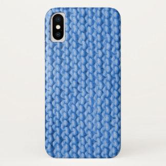 Blue Knit Pattern iPhone X Case