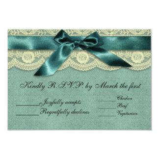Blue Lace Vintage Wedding Invitation RSVP