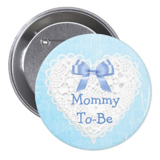 Blue Lacy Mom-To-Be Baby Shower Button