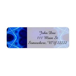 Blue Laser Light Fractal Return Address Label