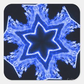 Blue Laser Snowflake Square Sticker