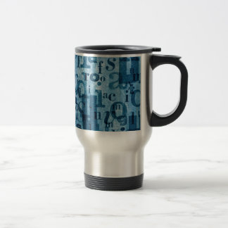 Blue letters collage travel mug