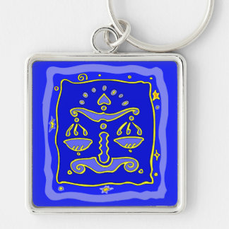 Blue Libra Key Ring