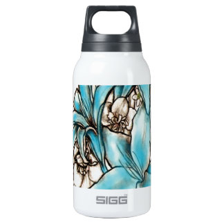 Blue lilies insulated water bottle