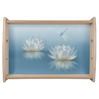 Blue Lotus and Dragonfly Serving Tray