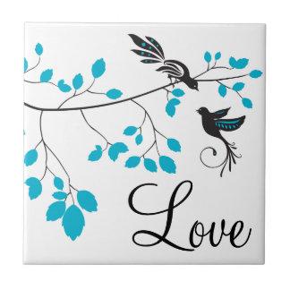 Blue Love Birds Small Square Tile