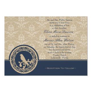 Blue Lovebird Damask Wedding Invitation