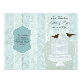 blue lovebirds  bircage bi fold Wedding program 21.5 Cm X 28 Cm Flyer
