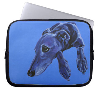 Blue Lurcher laptop sleeve