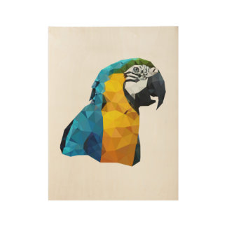 Blue Macaw Low Poly Art Wood Poster
