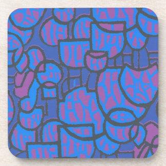 Blue, Magenta Abstract Cork-backed Coasters