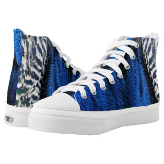 Blue Magical Peafowl Feathers Printed Shoes