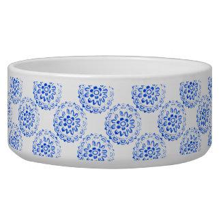 Blue Mandalas Round Motif Design 2 + add Dog Food Bowls