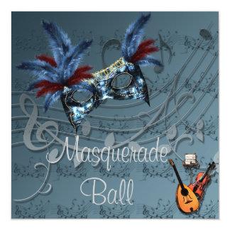 Blue Mask on Blue Masquerade Ball Invitation