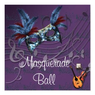 Blue Mask on Purple Masquerade Ball Invitation