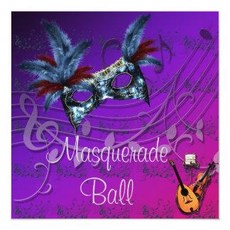 Blue Mask on Purples Masquerade Ball Invitation