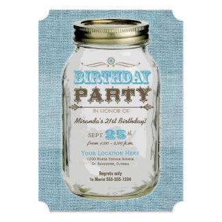 Blue Mason Jar Vintage Look Birthday Party 13 Cm X 18 Cm Invitation Card