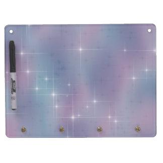 Blue Mauve Nebula Sparkle Dry Erase Board With Key Ring Holder