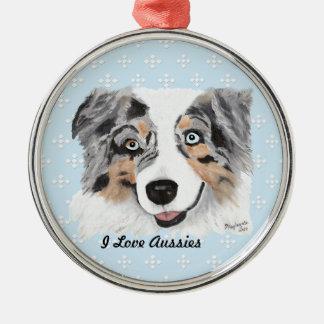 Blue Merle Aussie Blue w/white Diamonds Christmas Ornament
