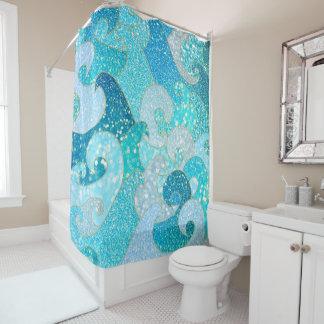 Blue Mermaid Faux Glitter Sea- Teal Gold Ocean Shower Curtain