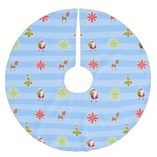 Blue Merry Christmas Illustrations Brushed Polyester Tree Skirt