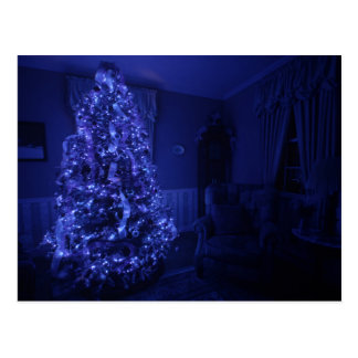 Blue Merry Christmas Tree Lights Postcard
