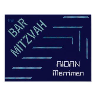 Blue metallic stripes Bar Mitzvah Card