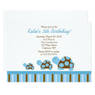 Blue Mod Turtles 5x7 Birthday Invitation