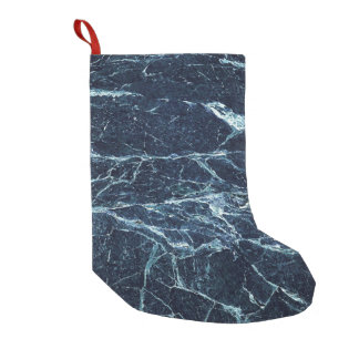 Blue modern marble pattern small christmas stocking